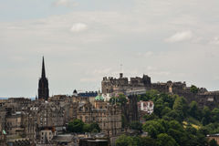 Edinburgh view. Great view of Edinburgh, Scotland, from Calton Hill. Castle at the end stock photo