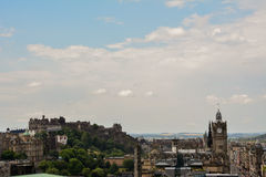 Edinburgh view. Great view of Edinburgh, Scotland, from Calton Hill. Castle at the end stock images