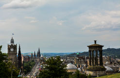 Edinburgh view. Great view of Edinburgh, Scotland, from Calton Hill. Princess Street at the end stock images