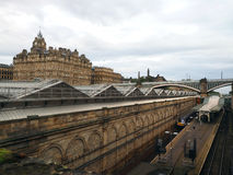 Edinburgh Waverley railway station former North British Hotel ab. Edinburgh Waverley railway station with former North British Hotel above the station Edinburgh Stock Image