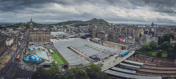 Edinburgh Waverley Train Station panorama. Panoramic view of the roof of the Edinburgh Waverley Train Station as seen from above, Scotland, Great Britain Stock Photography