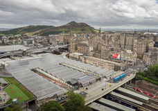 Edinburgh Waverley Train Station panorama. Panoramic view of the roof of the Edinburgh Waverley Train Station as seen from above, Scotland, Great Britain Royalty Free Stock Image
