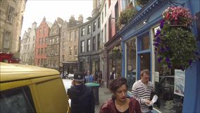 Edinburgh West Bow and Victoria Street with colorful shops in the Old Town, Edinburgh, Scotland. UK HD footage stock footage