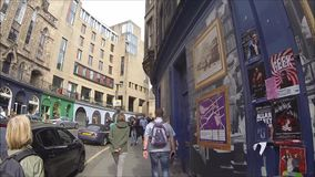 Edinburgh West Bow and Victoria Street with colorful shops in the Old Town, Edinburgh, Scotland. UK HD footage stock video