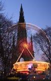 Edinburgh Xmas. Ferris Wheel in front of Walter Scott Monument, Edinburgh, Scotland Royalty Free Stock Photos