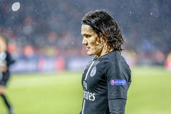 Edinson Cavani playing on a UEFA Champions League match royalty free stock image