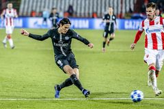 Edinson Cavani playing on a UEFA Champions League match stock images