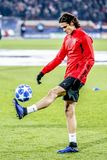 Edinson Cavani warming up on a UEFA Champions League match royalty free stock photo