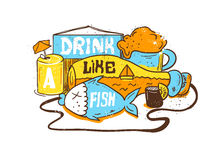 Ediom illustration Drink like a fish. Vector editorial Illustration with bottle, fish and alcohol. Hand painting style Stock Photography