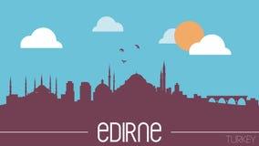 Edirne linii horyzontu Indyczej sylwetki projekta płaska ilustracja Obrazy Stock