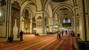 Edirne Turkiet - April 19, 2014: Inre av den gamla moskén Eski Cami i Edirne Fotografering för Bildbyråer