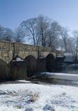Edisford-Brücke, Clitheroe im Schnee Stockbild