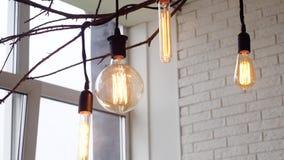 Edison hängande lampor, exponerade medel Tappningljuskulor som hänger på inre filialer av fönstret på bakgrund av arkivfilmer