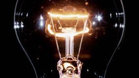 Edison lamp light bulb blinking over black, looped stock footage