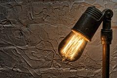 Edison Light Bulb Fixture antico d'annata Fotografia Stock Libera da Diritti