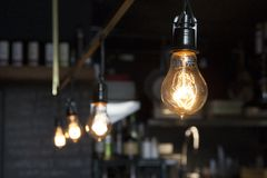 Edison Light Bulb Vintage Coffee Shop royalty free stock images