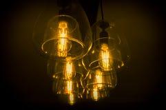 Edison Light Bulbs. Decorative antique edison style light bulbs chandelier background Stock Photo