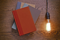 Edison Lightbulb Books Stock Afbeelding