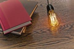 Edison Lightbulb Books Stock Photo