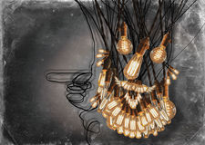 Edison Lightbulbs Beard Foto de archivo libre de regalías