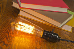 Edison Lightbulbs Books Royalty Free Stock Photo
