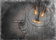 Edison Lightbulbs Face. Smiling anthropomorphic face made from hanging edison light bulbs royalty free stock photo