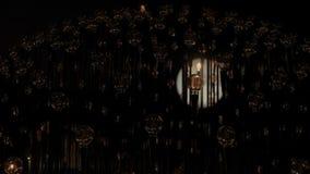 Edison tunsteen ljusa kulor för tappning i mörker stock video