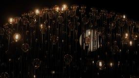 Edison tunsteen uitstekende gloeilampen in duisternis stock video