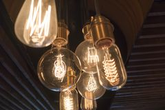 Edison vintage light bulb on dark.  Stock Image