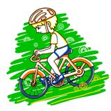 Edit boy on a bicycle color vector drawing. Royalty Free Stock Photography