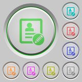 Edit contact push buttons. Edit contact color icons on sunk push buttons Royalty Free Stock Images