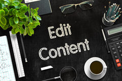 Edit Content - Text on Black Chalkboard. 3D Rendering. Royalty Free Stock Image