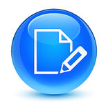 Edit document icon glassy cyan blue round button Royalty Free Stock Photography