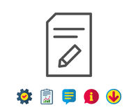 Edit Document line icon. File sign. Edit Document line icon. Information File sign. Paper page with pencil concept symbol. Report, Service and Information line Royalty Free Stock Photo