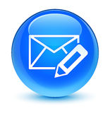 Edit email icon glassy cyan blue round button Royalty Free Stock Photo