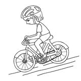Edit girl on a bicycle contur vector drawing. Stock Image