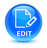 Edit glassy cyan blue round button Stock Image