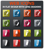 Edit icon set. Edit icons set in flat design with long shadow Stock Photo
