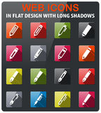 Edit icon set. Edit icons set in flat design with long shadow Royalty Free Stock Image