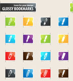 Edit icon set. Edit icons for your design glossy bookmarks Royalty Free Stock Photo