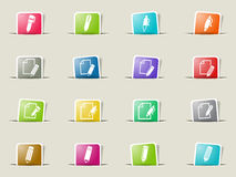 Edit icon set. Edit web icons on color paper bookmarks Royalty Free Stock Photos