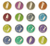 Edit icon set. Edit web icons on color paper labels Stock Photos