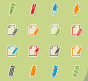 Edit icon set. Edit web icons on color paper stickers for user interface Stock Photos