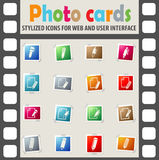 Edit icon set. Edit web icons on color photo cards for user interface Royalty Free Stock Images