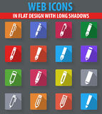 Edit icon set. Edit web icons in flat design with long shadows Stock Photography