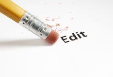 Edit macro. Closeup of a pencil eraser and Edit text Stock Photography
