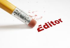 Edit red. Closeup of pencil eraser and red Editor text Stock Photography