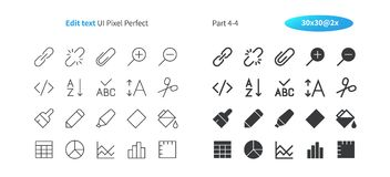 Edit text UI Pixel Perfect Well-crafted Vector Thin Line And Solid Icons 30 2x Grid for Web Graphics and Apps. Simple Minimal Pictogram Part 4-4 Stock Image