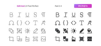 Edit text UI Pixel Perfect Well-crafted Vector Thin Line And Solid Icons 30 3x Grid for Web Graphics and Apps. Simple Minimal Pictogram Part 3-4 Stock Photo
