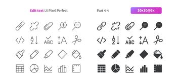 Edit text UI Pixel Perfect Well-crafted Vector Thin Line And Solid Icons 30 3x Grid for Web Graphics and Apps. Simple Minimal Pictogram Part 4-4 Stock Photos
